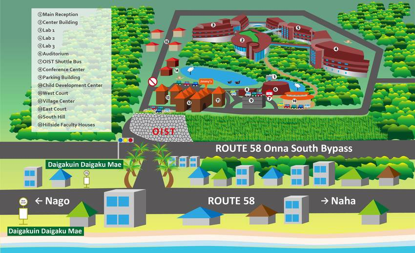 Illustrated map of access to OIST main campus