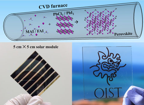 Perovskite solar modules produced using the chemical vapor deposition (CVD) technique