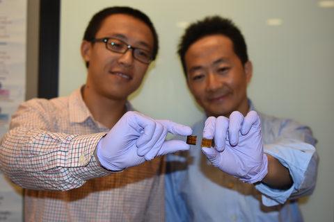 作製されたばかりのペロブスカイト太陽電池を手に持つジャン・イェン博士(左)。シェンハオ・ワン博士(右)が持っている試作品からも分かるように、劣化したMAPbI3ペロブスカイト太陽電池はかなり変色している。