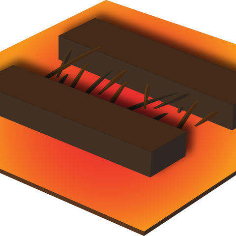 Schematic representation of copper oxide nanowires integrated on a micro-hotplate. At the centre of the image, copper oxide nanowires are bridging the gap between neighbouring copper microstructures.