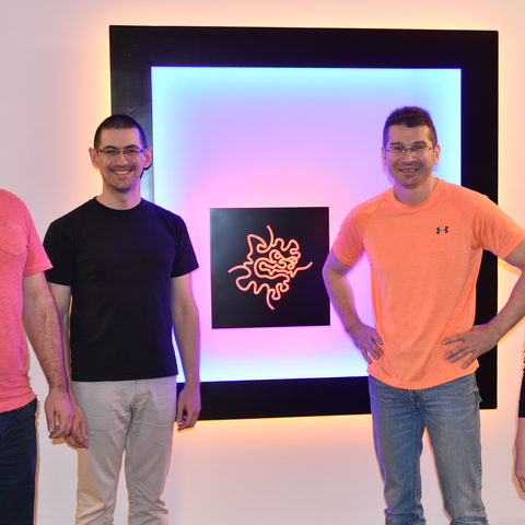 Current and former members of the Quantum Dynamics Unit at OIST. From left to right: Dr. Oleksandr Smorodin, Dr. Alexander Badrutdinov, Professor Denis Konstantinov, and OIST PhD student Jui-Yin Lin