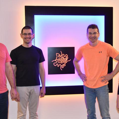Current and former members of the Quantum Dynamics Unit at OIST. From left to right: Dr. Oleksandr Smorodin, Dr. Alexander Badrutdinov, Professor Denis Konstantinov, and OIST PhD student Jui-Yin Lin