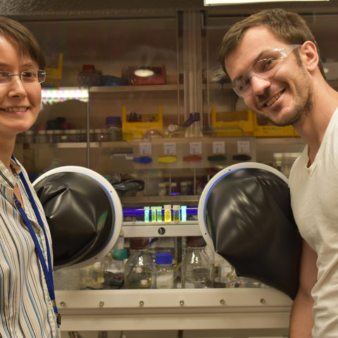Prof. Julia Khusnutdinova (left) and Dr. Georgy Filonenko (right) of the Coordination Chemistry and Catalysis Unit at OIST
